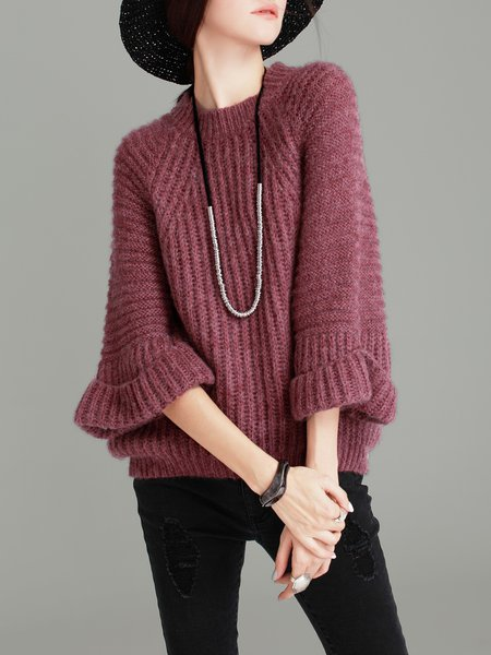 Red Plain Knitted Long Sleeve Sweater