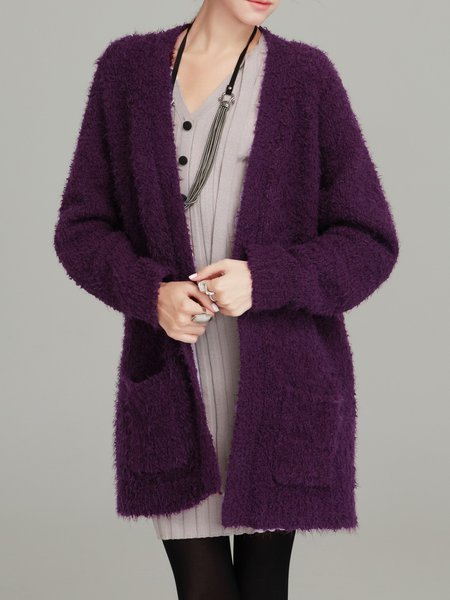 Purple H-line Plain Long Sleeve Cardigan with Pockets