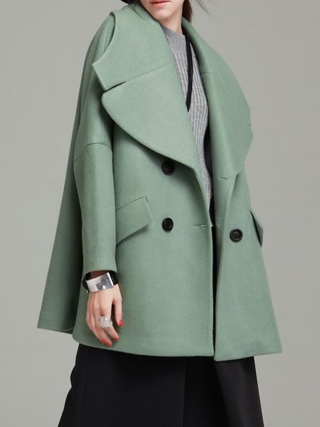 Green H-line Casual Coat with Pockets