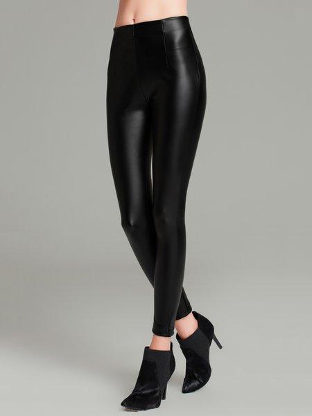 Black Casual Solid Sheath Zipper Leggings