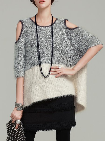 Gray Color Block Batwing Cold Shoulder High Low Sweater
