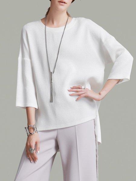 White Plain Asymmetric 3/4 Sleeve T-Shirt
