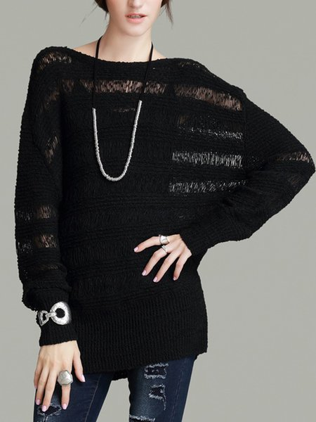 Black Bateau/boat Neck Long Sleeve Knitted Sweater