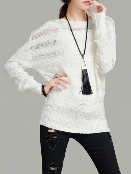 White Long Sleeve Knitted Plain H-line Sweater