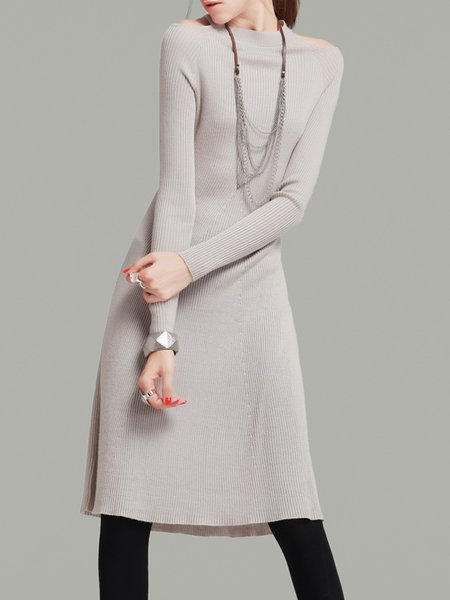 Apricot Simple Ribbed Sweater Dress