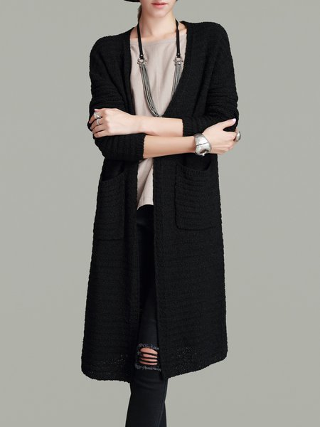Black Simple Knitted Pockets Cardigan