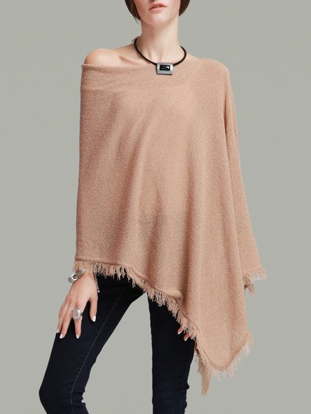 Camel Knitted Plain Fringed Statement Tunic