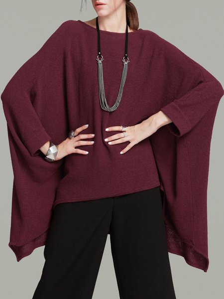 Statement Asymmetrical Knitted Batwing Sweater