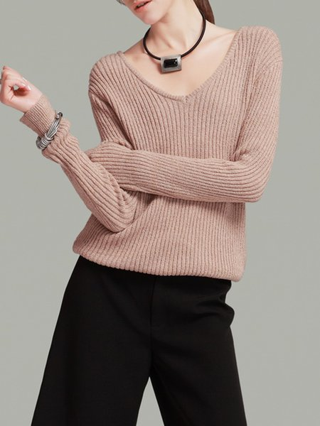 Apricot V Neck Casual Ribbed Sweater