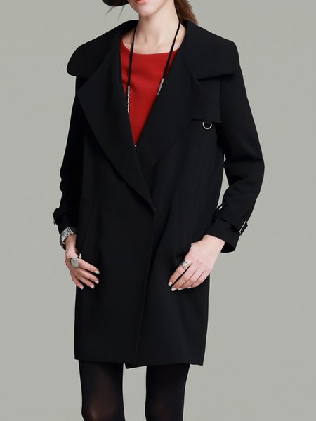 Black Long Sleeve Pockets Trench Coat