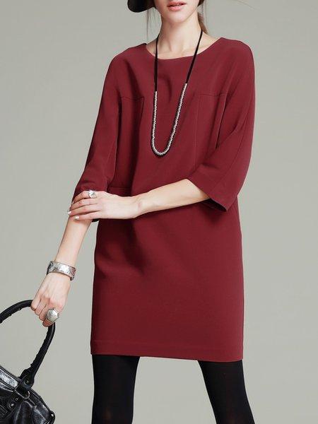 Wine Red H-line Simple Mini Dress