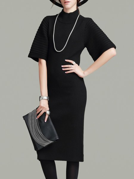 Ribbed Knitted Half Sleeve Plain Sweater Dress