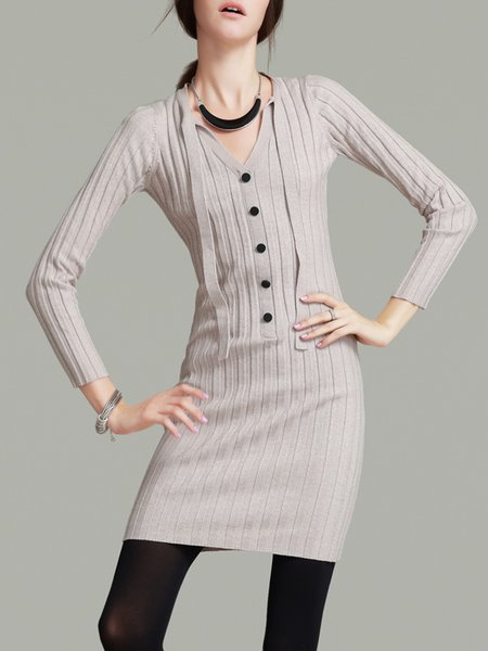 Casual Long Sleeve Knitted Sweater Dress
