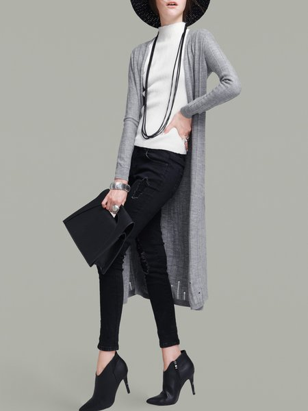 Gray Knitted Slit Casual Cardigan