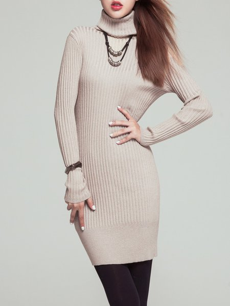Apricot Long Sleeve Turtleneck Ribbed Knitted Sweater Dress