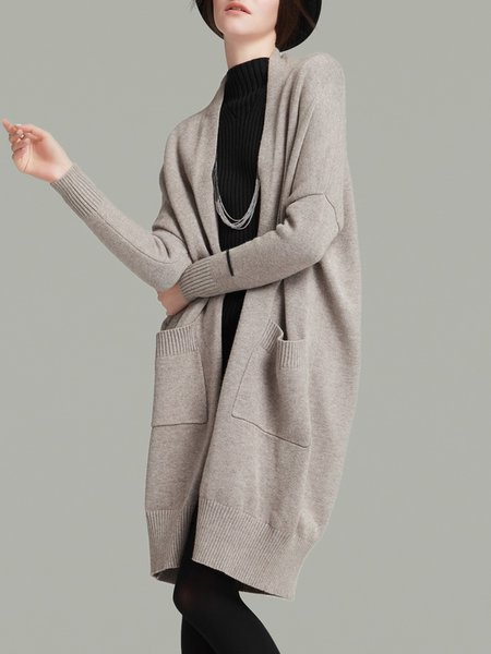 Knitted Long Sleeve H-line Cardigan