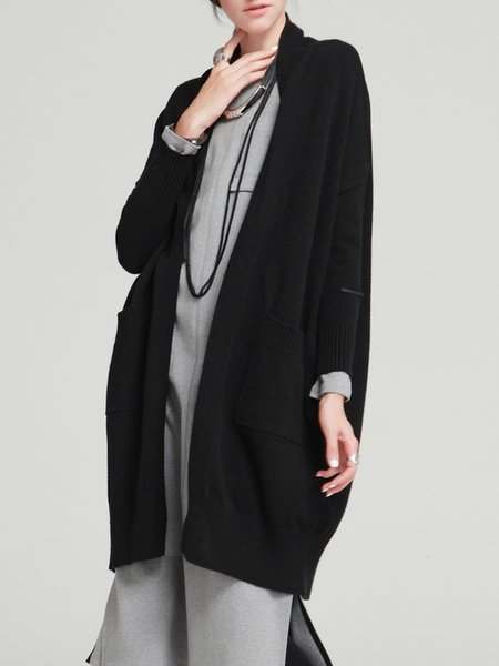 Knitted Pockets Casual H-line Cardigan