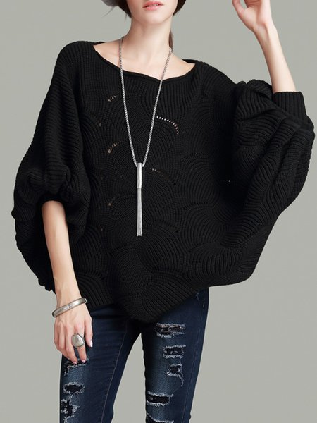 Black Knitted Casual Batwing Sweater