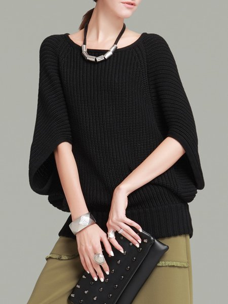 Black Batwing Ribbed Sweater