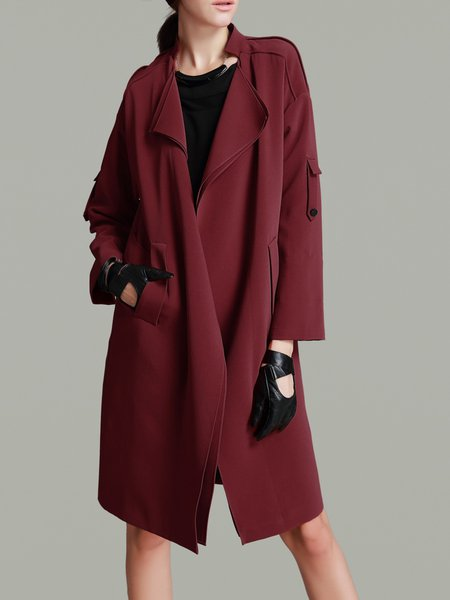 Wine Red Lapel Plain Work Trench Coat
