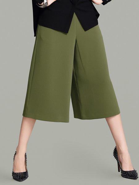 Olive Green Simple Pockets Casual Wide Leg Pants