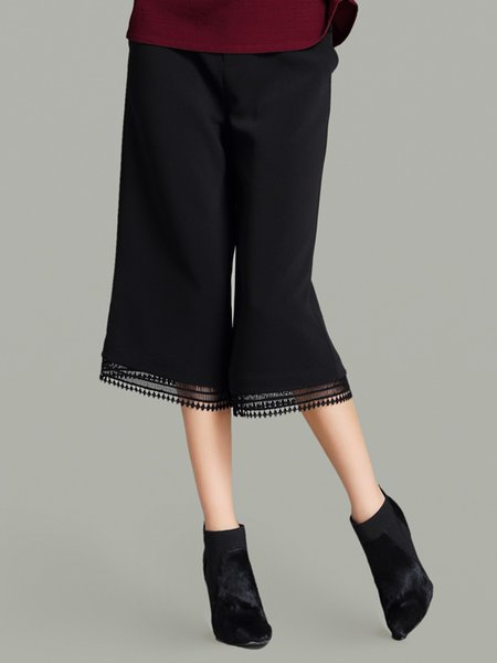 Black Plain H-line Casual Paneled Wide Leg Pants