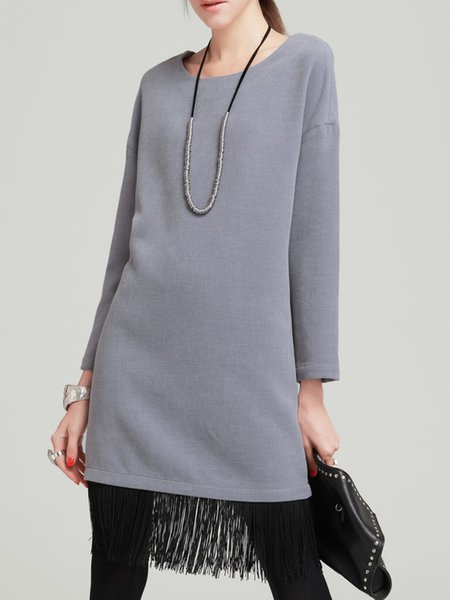 Light Gray Long Sleeve Crew Neck Shift Fringed Midi Dress
