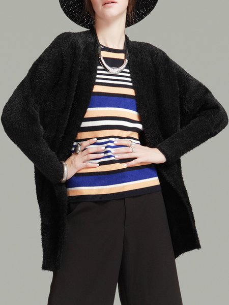 Black H-line Long Sleeve Plain Acrylic Cardigan