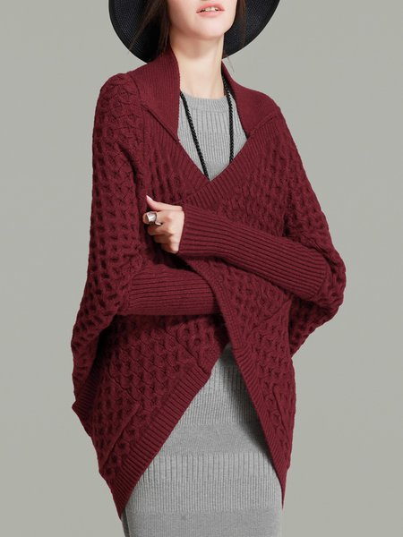 Lapel Plain Batwing Casual Knitted Cardigan