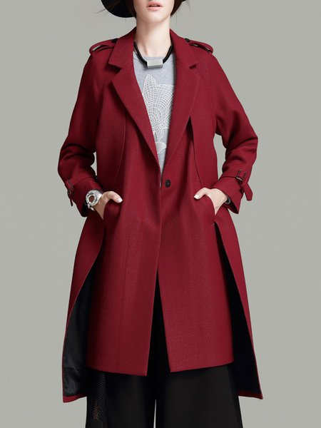 Simple Long Sleeve Plain Trench Coat