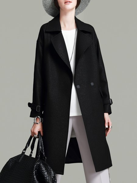 Lapel Simple Long Sleeve Plain Trench Coat with Belt