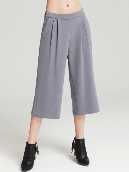 Folds Long Sleeve Simple Wide Leg Pant
