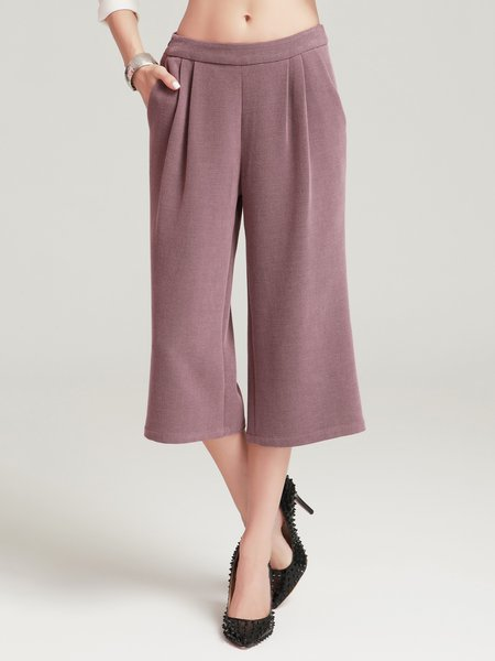 Rust Folds Simple Plain Wide Leg Pant