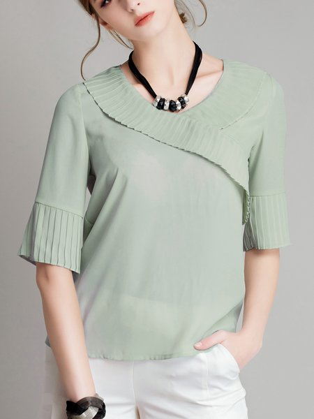 Casual Half Sleeve Crew Neck Solid Pleated Blouse