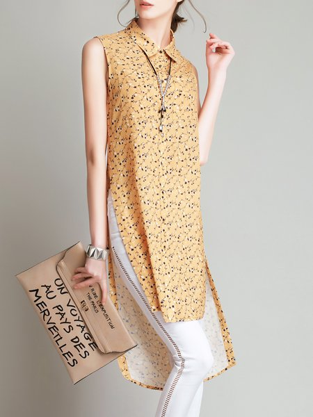 Polyester Shirt Collar Sleeveless Casual Floral Tunic