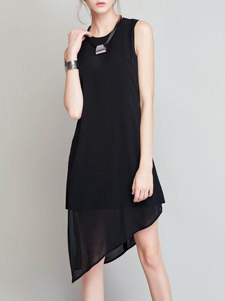 Simple Solid Sleeveless Asymmetric Midi Dress
