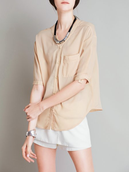 Half Sleeve Solid Pockets Casual Blouse