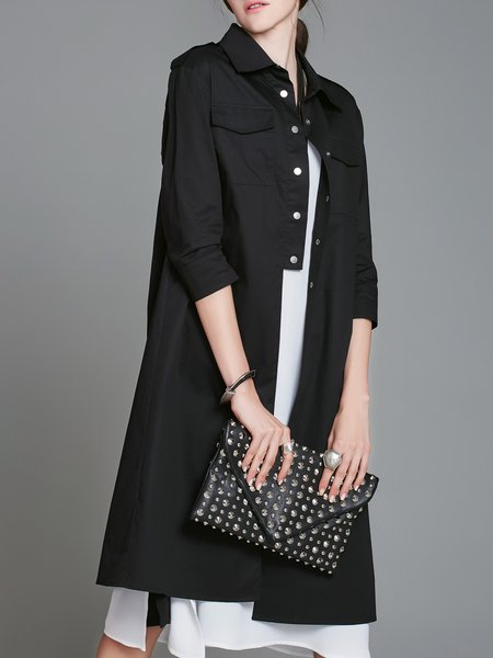 Casual Shirt Collar Trench Coat