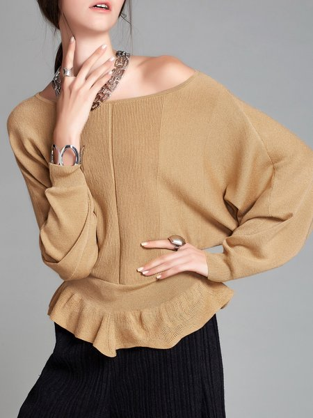 Ruffled Casual Batwing Bateau/boat Neck Sweater