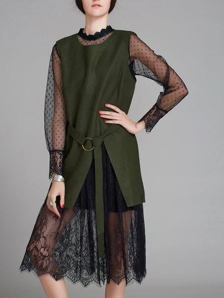 Army Green A-line Long Sleeve See-through Look Two Piece Dress With Top