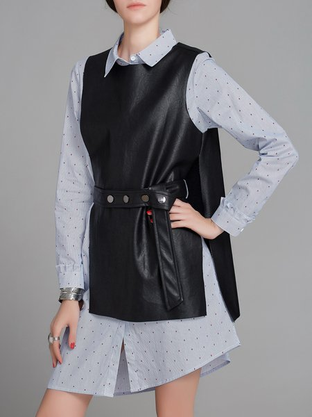 Blue Striped Casual Shirt Collar A-line Two Piece Dress With Top