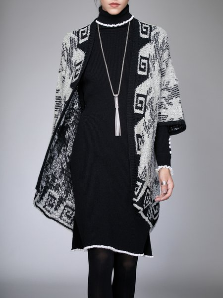 Gray Tribal Batwing Knitted Coat