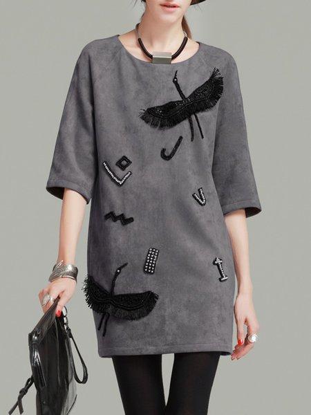 3/4 Sleeve Casual Beaded Shift Mini Dress