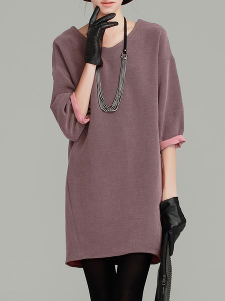 Simple Paneled Long Sleeve Sweater Dress