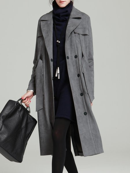 Lapel H-line Long Sleeve Simple Trench Coat