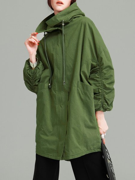 Batwing Hoodie Solid Casual Trench Coat