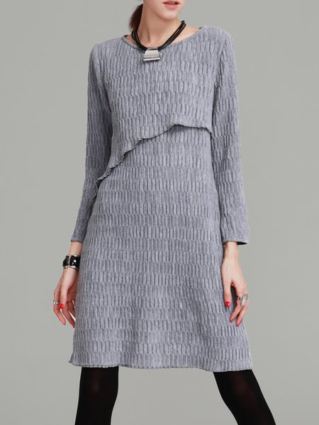 Long Sleeve Knitted Casual Midi Dress