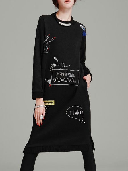 Long Sleeve Crew Neck Casual Shift Embroidered Midi Dress