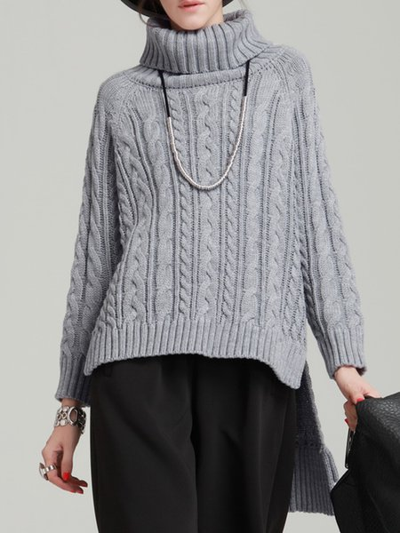 Casual Long Sleeve Acrylic High Low Knitted Sweater