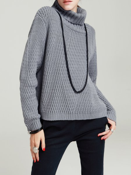 Casual Turtleneck Long Sleeve Knitted Sweater